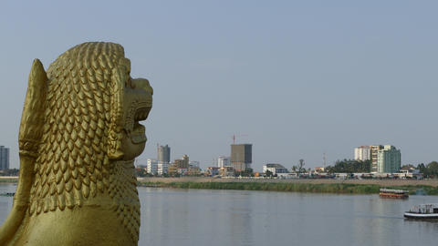 Time lapse from the onle Sap River with a Golden statue Footage