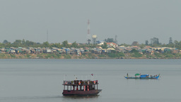 Boats at the Mekong River in Phnom Penh Footage