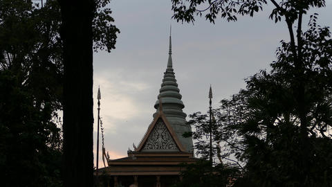 Wat Phnom in Phnom Penh in the evening Footage
