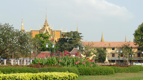 The Royal palace seen from Wat Bottom Park in Phnom Penh Footage