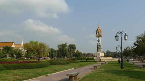 Statue at Wat Bottom Park in Phnom Penh Footage