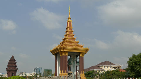 Time lapse from the statue of King Father Norodom Sihanouk in Phnom Penh Footage