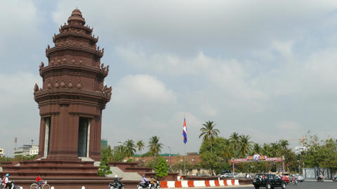Traffic around the Independence Monument in Phnom Penh Footage