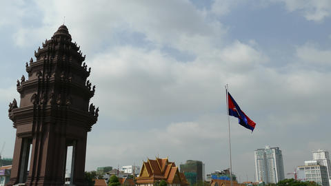 The Independence Monument with Cambodian flag Live Action
