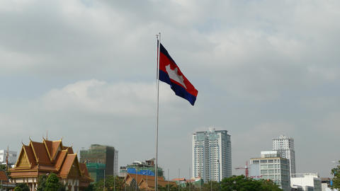 The Cambodian flag in Phnom Penh Footage