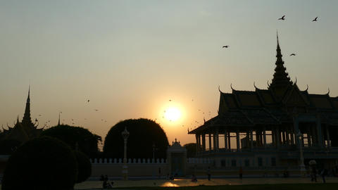 Sunset at the Moonlight Pavilion in Phnom Penh Cambodia Footage