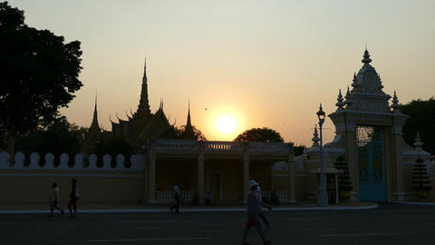 Sunset at Royal Palace in Phnom Penh Footage