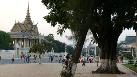 People in front of the Moonlight Pavilion and Royal Palace in Phnom Penh Footage