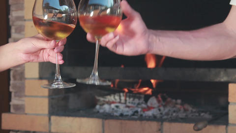 Toast with a glass of wine Footage