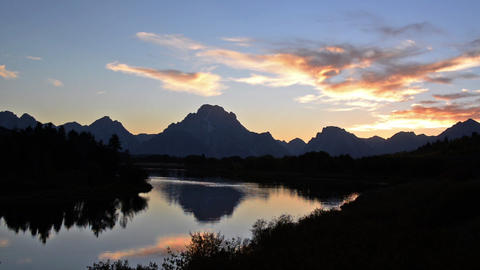 Teton Mountain Range Sunset stock footage