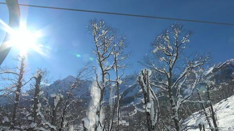 Ski Lift In The Valley, The Ski Resort Of Krasnaya Polyana stock footage