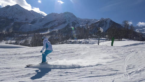 The skiing on the slopes of the ski resort of Krasnaya Polyana Footage
