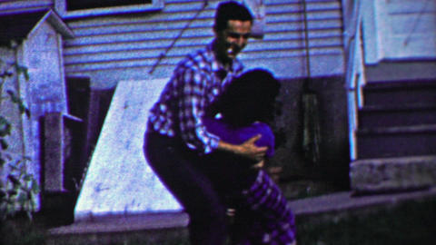 1958: Teenages aggressive rough flirting sends old people into house Footage