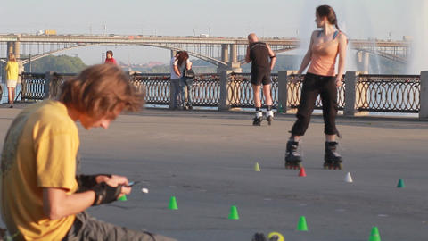 People ride on roller skates. Urban, Sports Footage