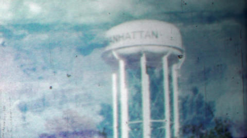 1958: Manhattan watertower double exposure film effect nature Footage