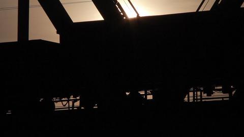 Train rides on the railway bridge Footage
