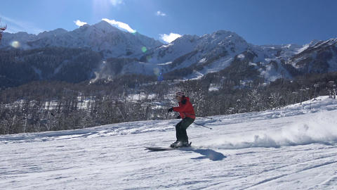 The skiing in the valley, the ski resort of Krasnaya Polyana Footage