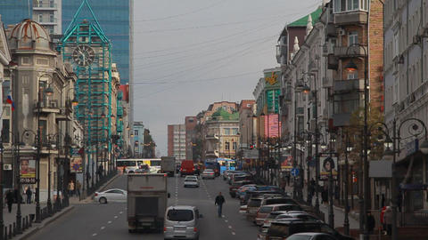 Metropolis. the movement of cars in the big city. the streets Vladivostok Footage