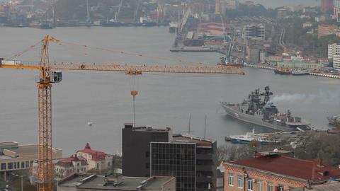Ship in port costs . Vladivostok Footage