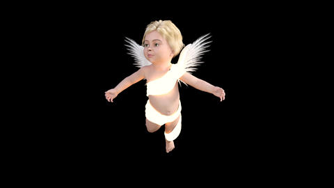 glowing ,cherub, flies and prays,animation,transparent background Animation