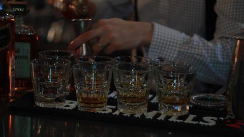 Barman prepares alcoholic cocktail Footage
