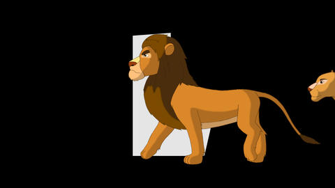 Letter L and Lion (foreground) Animation