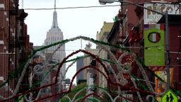 New York City 515 Empire State Building seen from colorful Little Italy district Footage