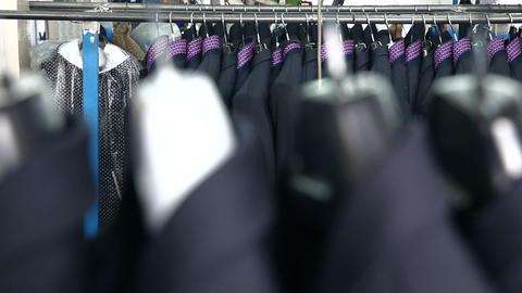 Men's suit at tailor's workshop Stock Video Footage