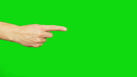 Right hand with an index finger point. Alpha channel, green screen Footage