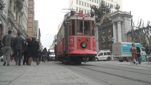 ISTANBUL - 22 FEB 2018 famous istiklal street Istanbul Turkey, tram and crowded Live Action
