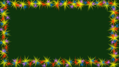 Animated video frame with small multicolored rotating stars on border. Small Animation
