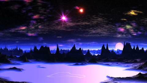 Beautiful Dawn on Alien Planet Animation