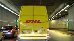Munich / Germany - February 16 2018 : DHL van driving through the tunnel Footage