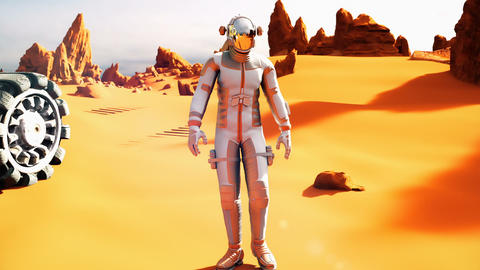 Astronaut on the Mars returns to his mars Rover after the exploration of planet. Image