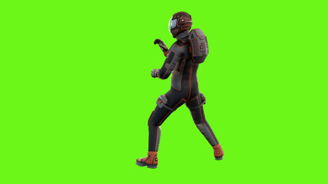 Sci fi man fights. Loopable animation on green screen from two angles. 4k Animation