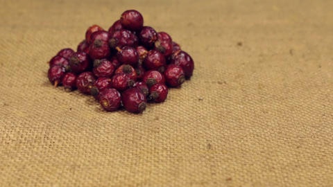 Zoom, approaching is a pile of rosehip berry lying on burlap. Close-up Footage