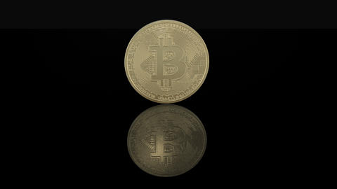 Crypto currency Gold Bitcoins - BTC - Bit Coin. Macro shots crypto currency Live Action