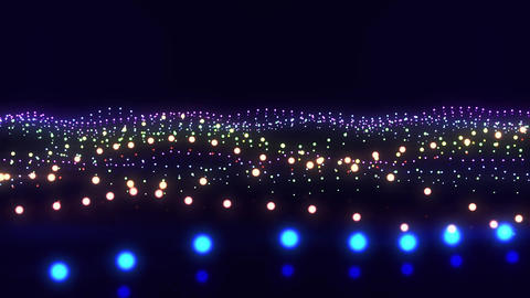 Colorful Neon Particles Waves VJ Loop Abstract Motion Background Animation