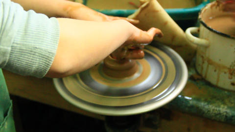 Pottery making process. Ceramic from clay. Potters in work. Art of pottery Footage