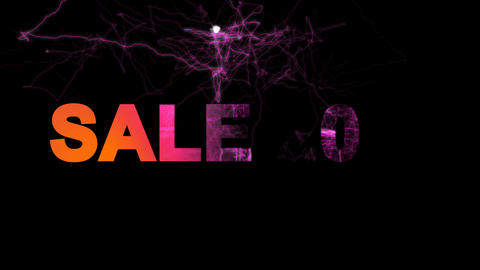 sale tag SALE 20% multi-colored appear then disappear under the lightning Animation