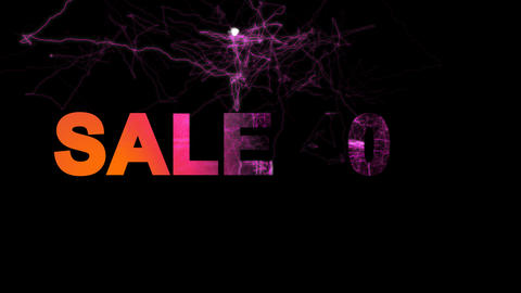 sale tag SALE 40% multi-colored appear then disappear under the lightning Animation