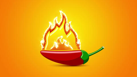 Extremely hot red chilli pepper with fire flame Animation