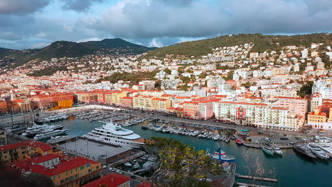 Timelapse Aerial View on Port of Nice And Luxury Yachts Live Action