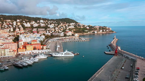 Aerial View on Port of Nice And Luxury Yachts Live Action