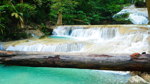 Erawan waterfalls, beautiful evergreen paradise of the Middle travelers. Ideal Footage