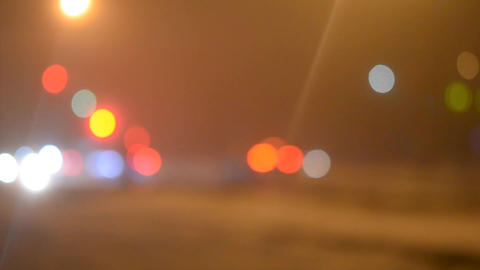 Abstract blurred background cars drive on the night road Footage
