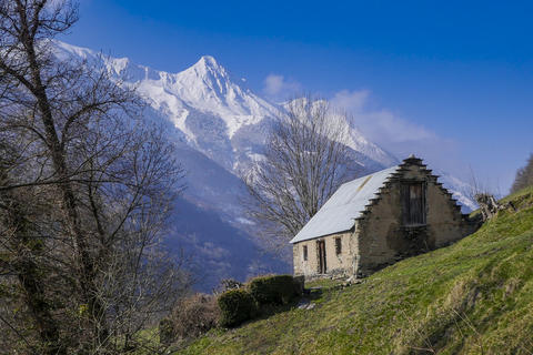 Winter mountains panorama with ski slopes, Bareges, Pyrennees Photo