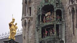 The historic Glockenspiel at Marienplatz, Munich, Germany - Part 03 Footage