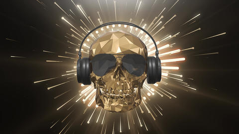 The golden low poly skull of the DJ on the background of the equalizer Animation