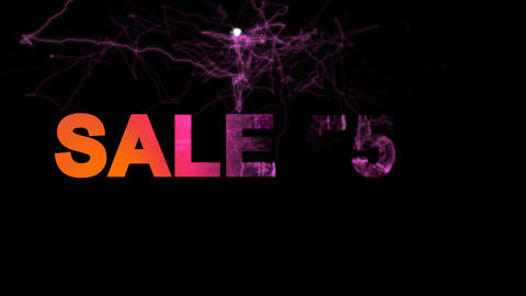 sale tag SALE 55% multi-colored appear then disappear under the lightning Animation